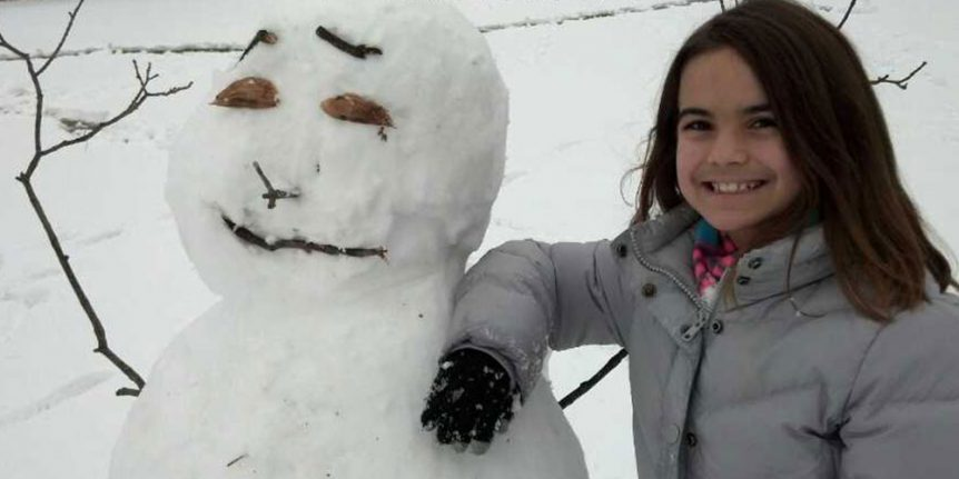 girl and snow man