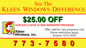 coupon for Kleen windows company $25 off